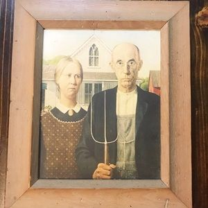 Grant Wood's American Gothic Antique framed